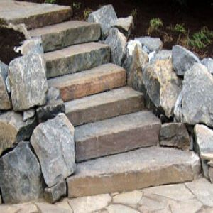 Colonial Steps with Boulders